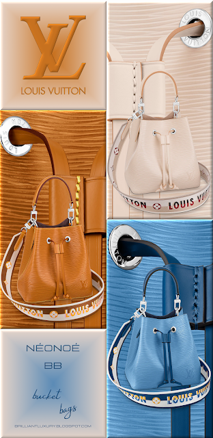 Louis Vuitton NéoNoé BB bucket bags in 3 different colours with embroidered Jacquard strap #bags #louisvuitton #brilliantluxury