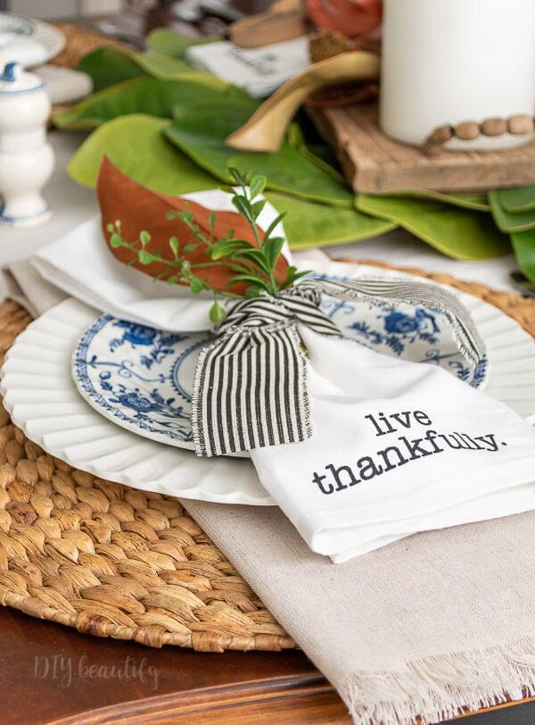 striped ribbon and napkins