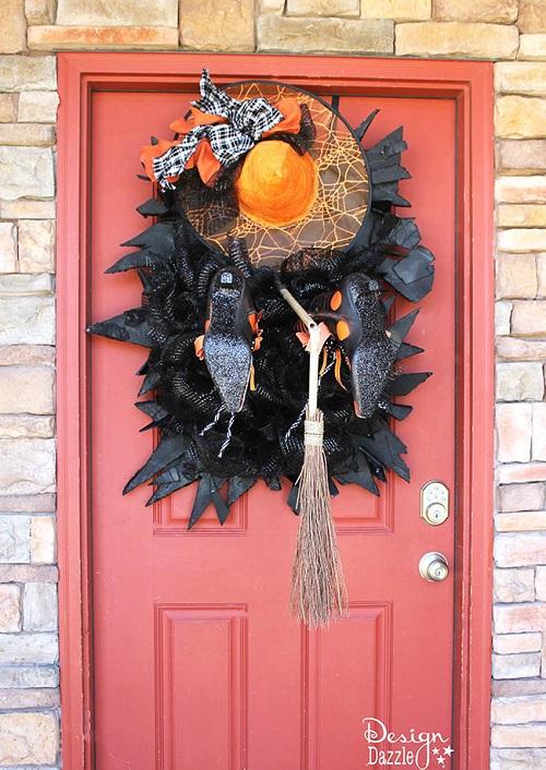 halloween witch crashing decoration