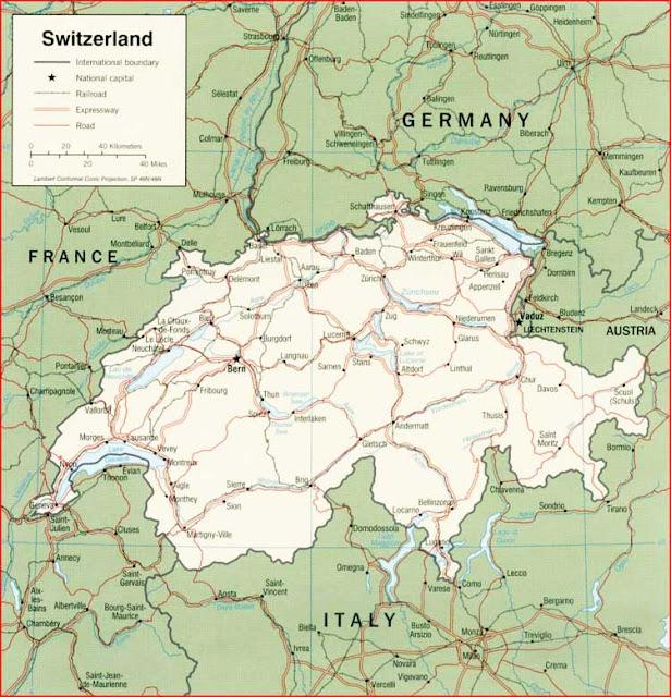 Gambar Peta politik Swiss