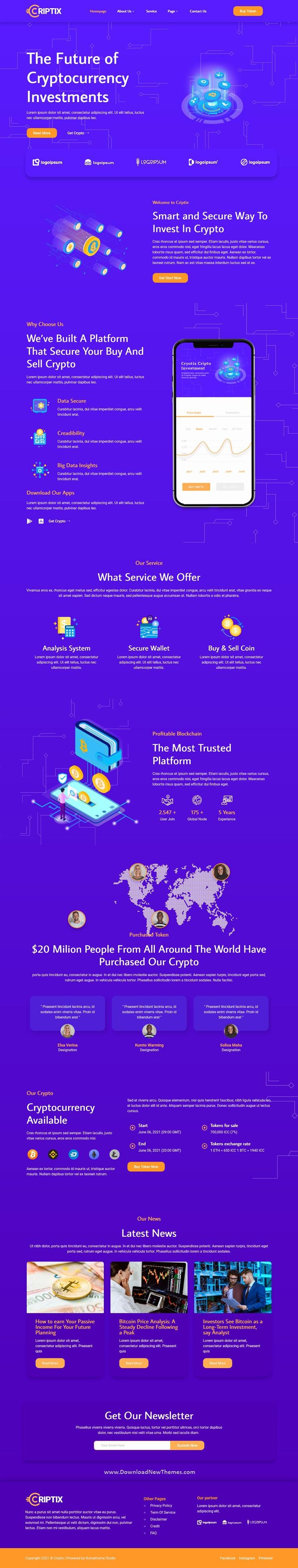 Cryptocurrency Blockchain & Bitcoin Elementor Template Kit