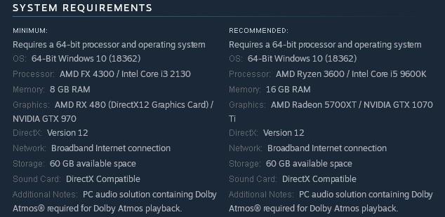 متطبات تشغيل لعبة Dirt 5 للكمبيوتر