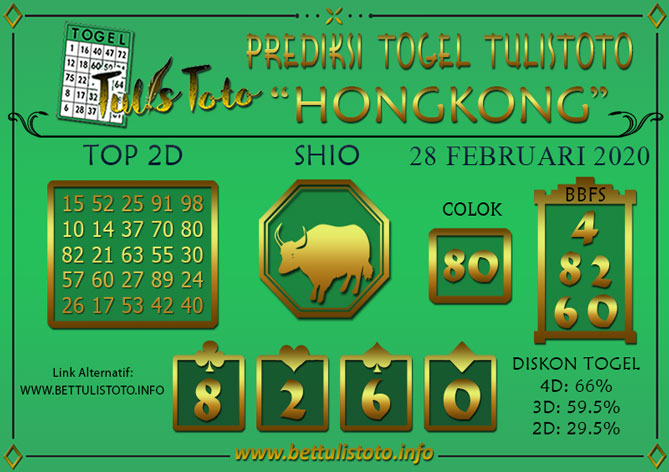 Prediksi Togel HONGKONG TULISTOTO 28 FEBRUARI 2020