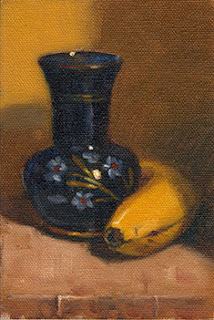 Oil painting of a painted blue glass vase beside a banana.