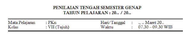 Soal PTS 2 PKn Kelas 7