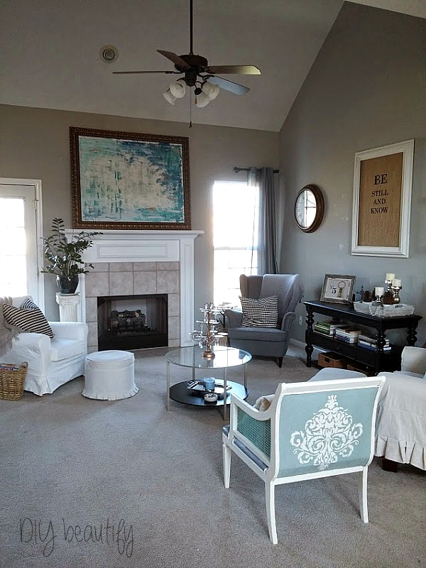 gray, white and aqua living room DIY beautify blog