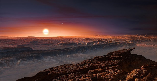 While astronomers don't know what the Earth-like exoplanet Proxima b looks like, this artistic impression presents a view of the possible surface. New, upcoming large telescopes on Earth will soon explore atmospheres on exoplanets – like Proxima b – for signatures of life. Credit: ESO/M. Kornmesser