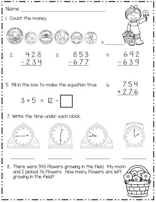 Morning work freebie for second grade
