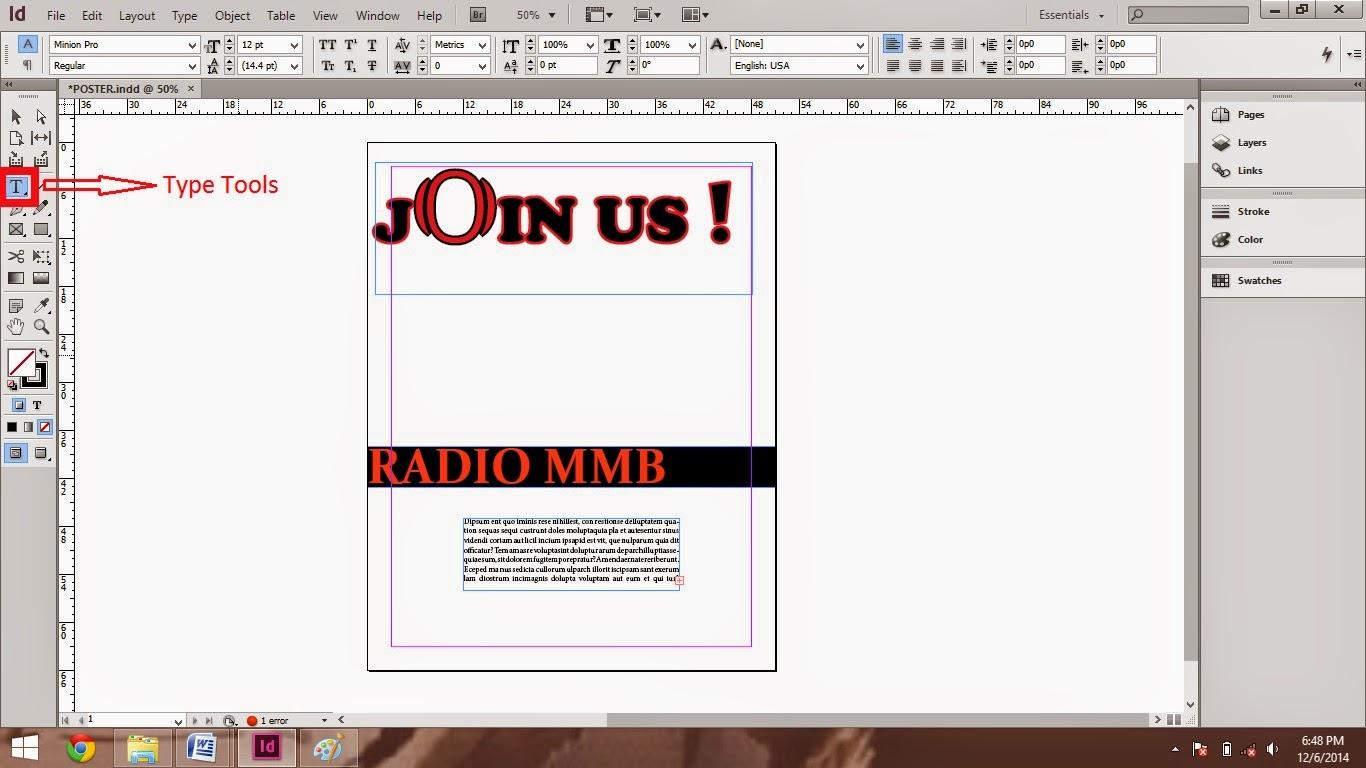 memasukan teks menggunakan type tool_tutorial cara membuat poster di adobe indesign