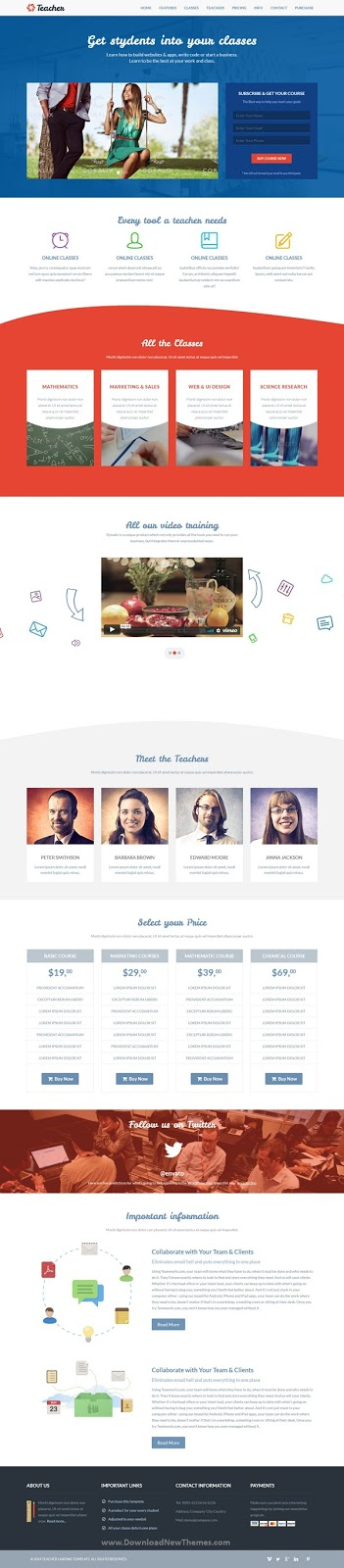 Education One Page Responsive Template