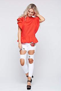 Bluza dama LaDonna rosie casual din bumbac cu volanase la maneca1