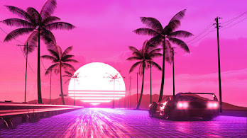 Car, OutRun, Synthwave, Scenery, Digital Art, 4K, #6.2648
