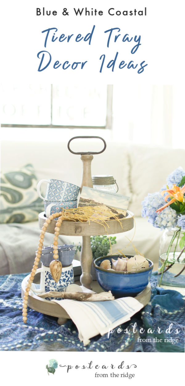 tiered tray decor with blue and white coastal theme