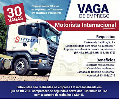 TRANSPORTADORA LETSARA ANUNCIA 30 VAGAS PARA MOTORISTA