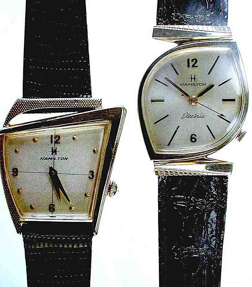 a color photograph of 1950s Hamilton wrist watches, with odd shaped faces