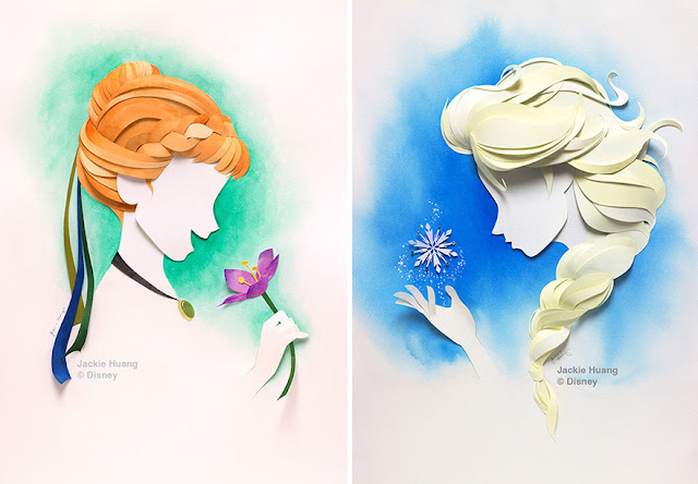 Disney characters made from layers of paper