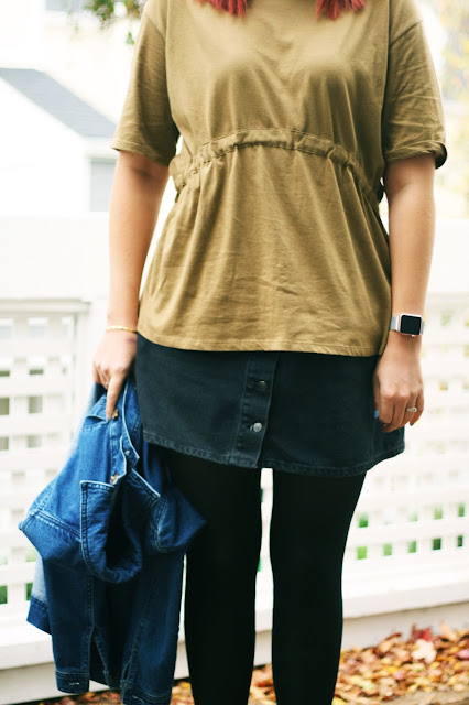 Double denim, black skirt, Khaki, Zara, high street fashion