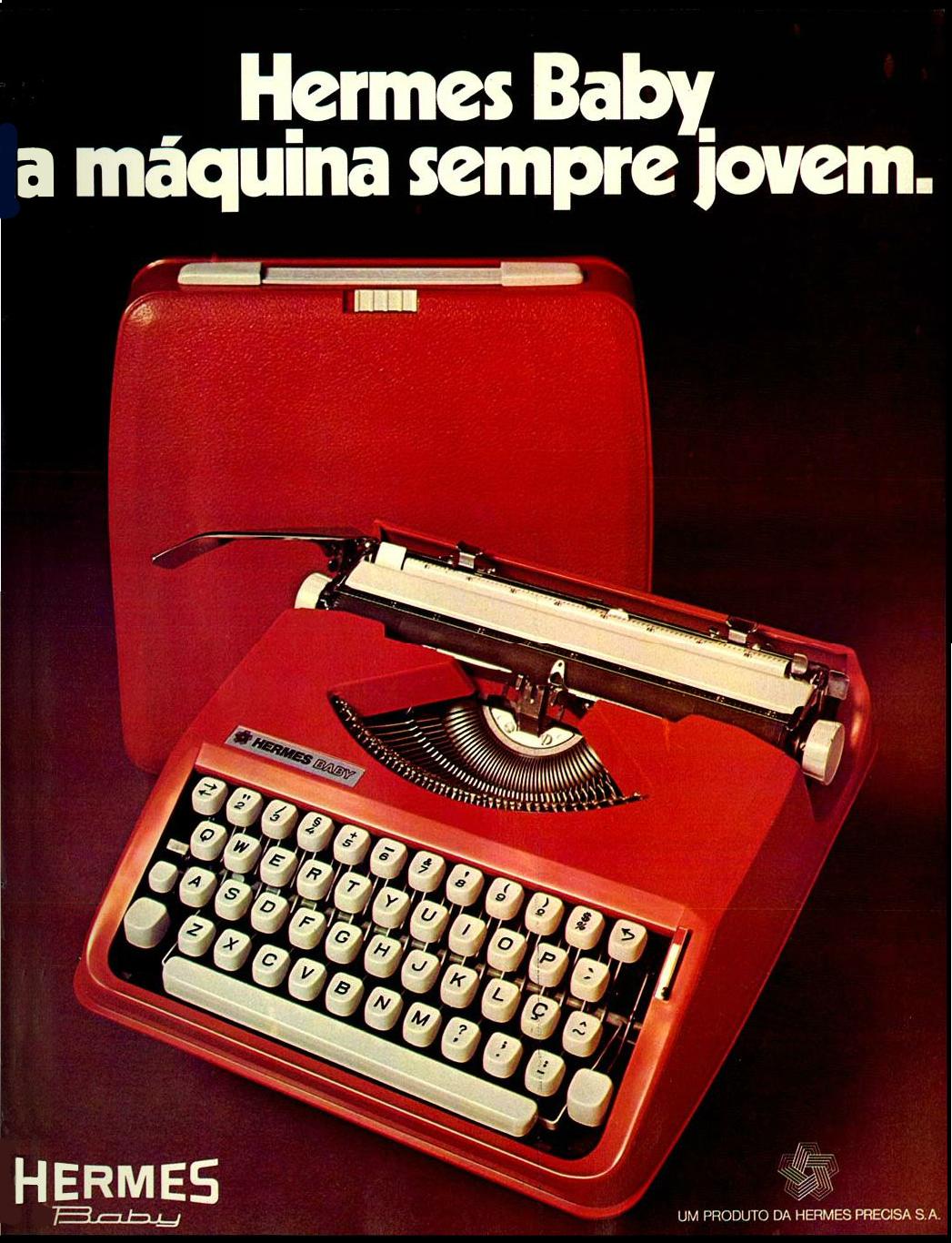 Propaganda antiga da Hermes apresentando o modelo Baby da máquina de escrever em 1977