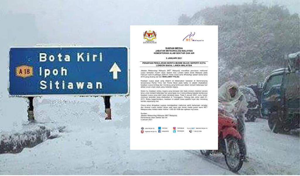 Jabatan Meteorologi Malaysia Nafi Malaysia Bakal Dilanda Musim Sejuk Seperti London Pada Februari Ini