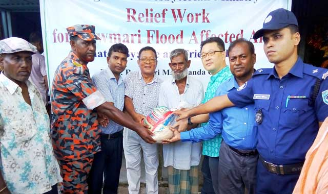 Distribution of relief among five hundred families in the Rowmari