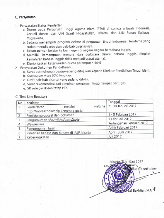 Beasiswa Partnership In Islamic Education Scholarship (PIES) 2017