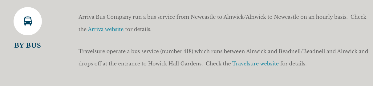 Howick Hall Snowdrop Walk & Sensory Garden - public transport