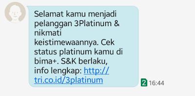 jadi pelanggan tri platinum