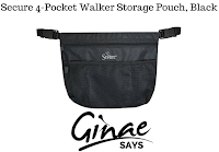 Secure 4-Pocket Walker Storage Pouch, Black