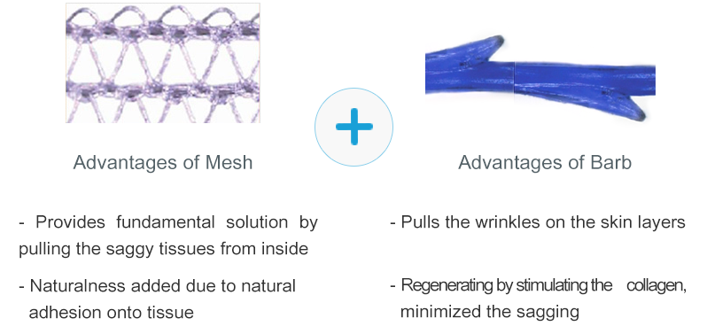 Advantages of Mesh -Provides fundamental solution by pulling the saggy tissues from inside -Naturalness added due to natural adhesion onto tissue  Advantages of Barb -Pulls the wrinkles on the skin layers -Regenerating by stimulating the collagen, minimized the sagging