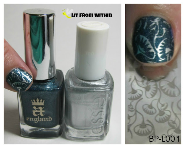 What I used:  A England Proserpine, Essie No Place Like Chrome, and stamping plate BP-L001.