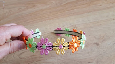 Upcycled spring flowers headband