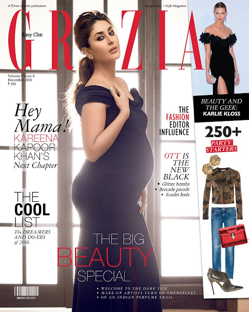 Pregnant Kareena Kapoor on Grazia India - Dec 2016