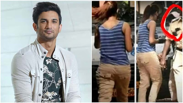 Sushant-Case-A-video-shows-a-Mystery-Woman-talking-to-a-Man-dressed-in-a-black-shirt