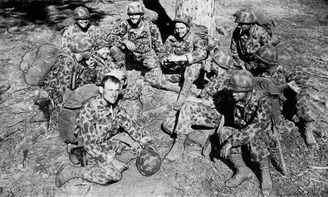 "Members of the 592nd Regiment while still in Australia.  Image source:  ""Put 'Em Across"" via Ralph Denlinger  Downloaded from Australia@War."