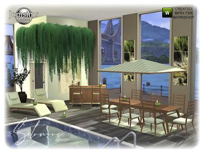 Selomos Garden Dining room Selomos Garden Столовая Thalmia для The Sims 4 Selomos Garden Столовая для ваших симов. в 4 оттенках дерева и 4 цветах. и да релаксация, и среда от 5 до 10 для картин. Зонт, бутылки, скульптурная площадка. обеденный стол, обеденный стул, длинные картины, большие картины, кресло для сидения выглядит как кресло для отдыха. Бар, Барный стул. коврики. зонт, бутылки. Автор: jomsims