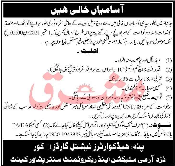 Pak Army Janbaz Force Jobs in Peshawar 2021