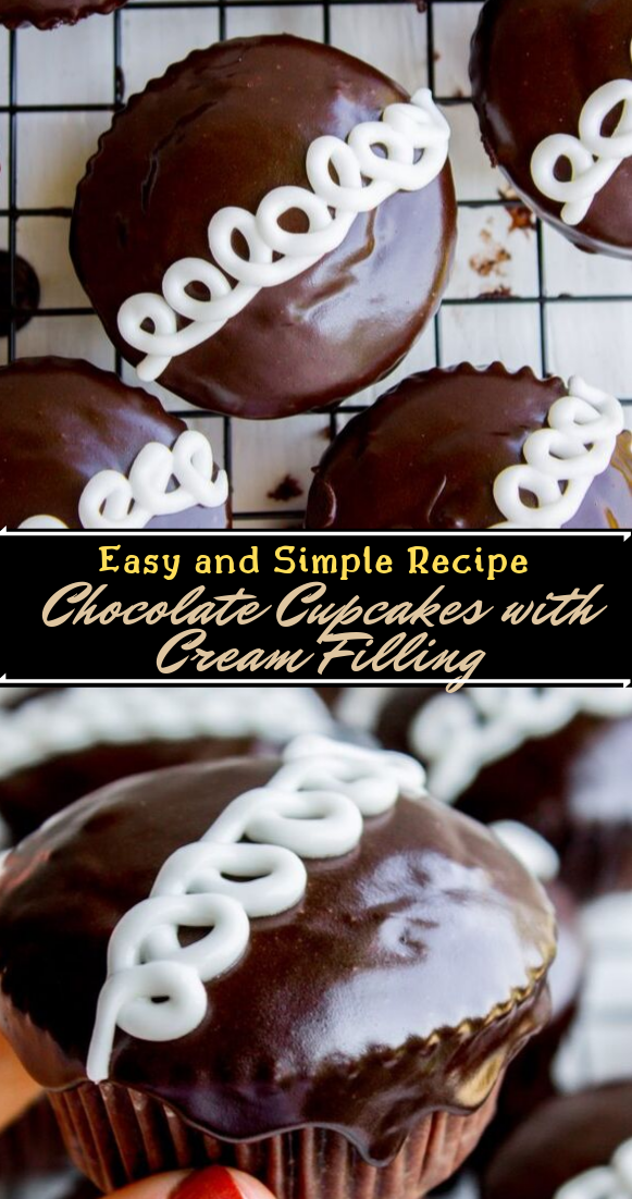 Chocolate Cupcakes with Cream Filling  #desserts #cakerecipe #chocolate #fingerfood #easy