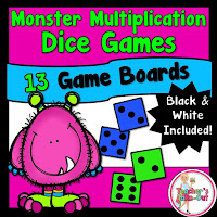 Monster Multiplication Dice Games for factors 1-6