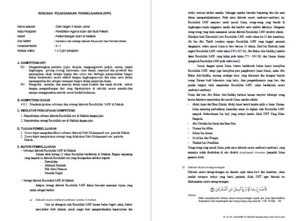 Download Contoh Rpp Pai Sma Kelas 10 Kurikulum 2013 Berkas Edukasi