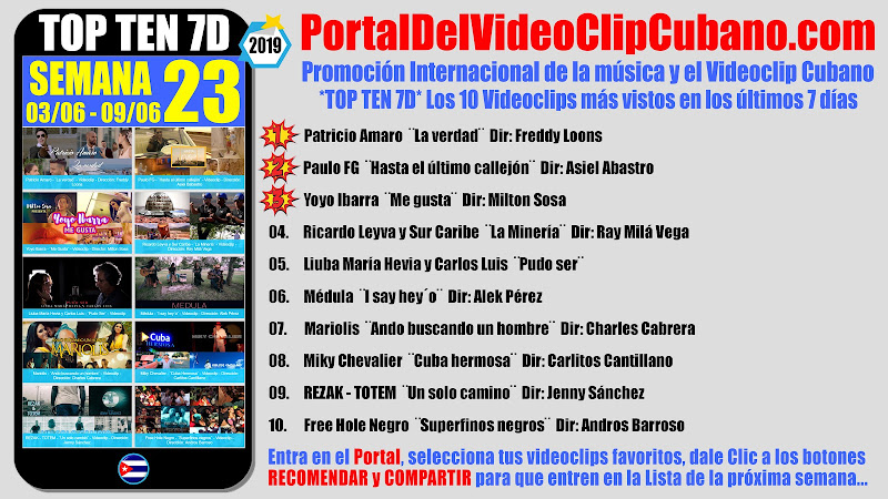 Artistas ganadores del * TOP TEN 7D * con los 10 Videoclips más vistos en la semana 23 (03/06 a 09/06 de 2019) en el Portal Del Vídeo Clip Cubano