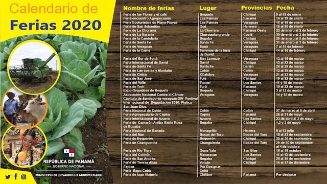 Calendario de ferias nacionales de Panamá 2020