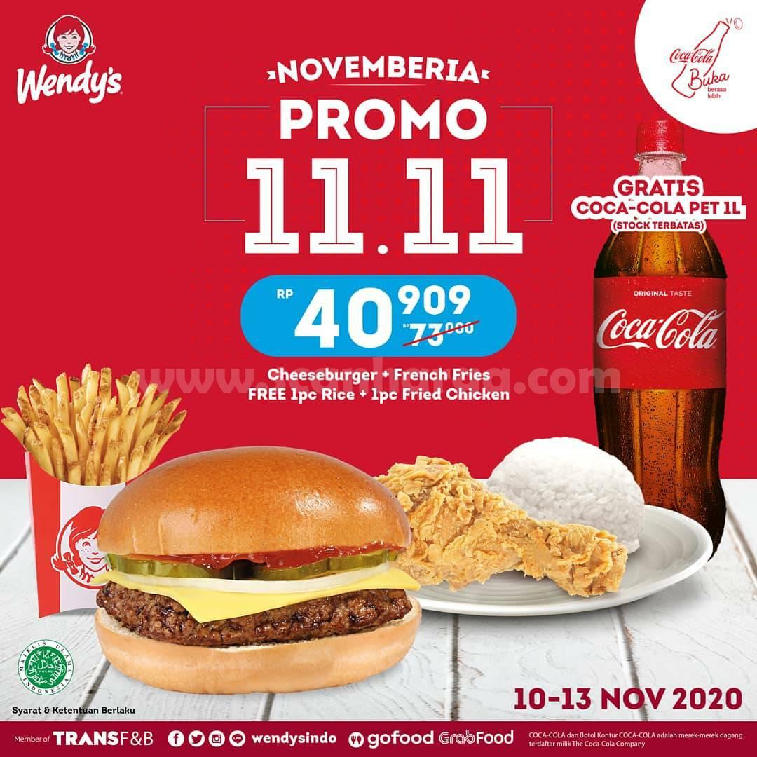 Wendys Promo 11.11 - Harga Spesial Burger, French Fries + Fried Chicken + FREE Coca Cola 1ltr cuma 40Ribuan