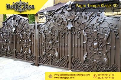 Pintu gerbang besi tempa mewah warna tembaga