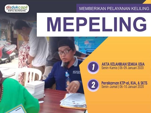 Jadwal dan Lokasi Mepeling Disdukcapil Kota Bandung 6 - 9 Januari 2020