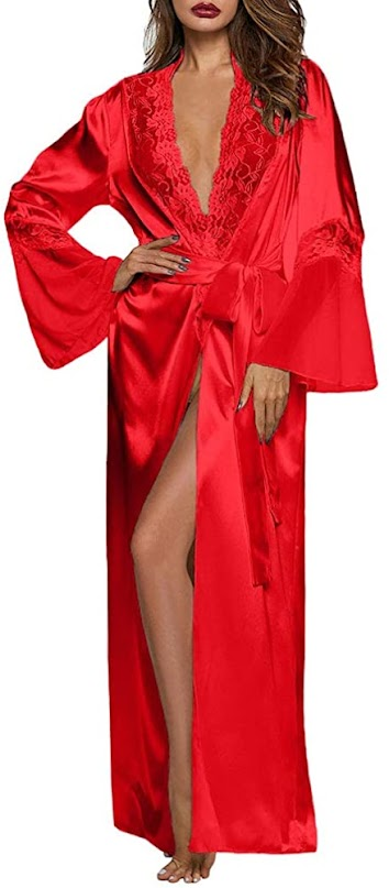 Long Women's Red Satin Robes