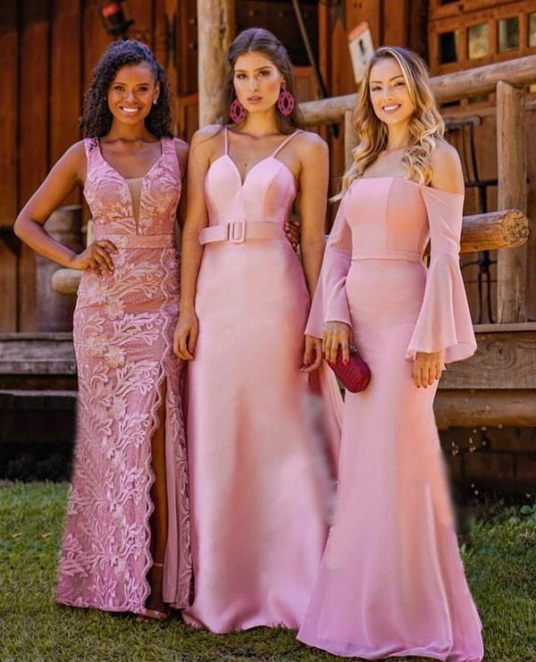 vestido rosa para madrinha de casamento