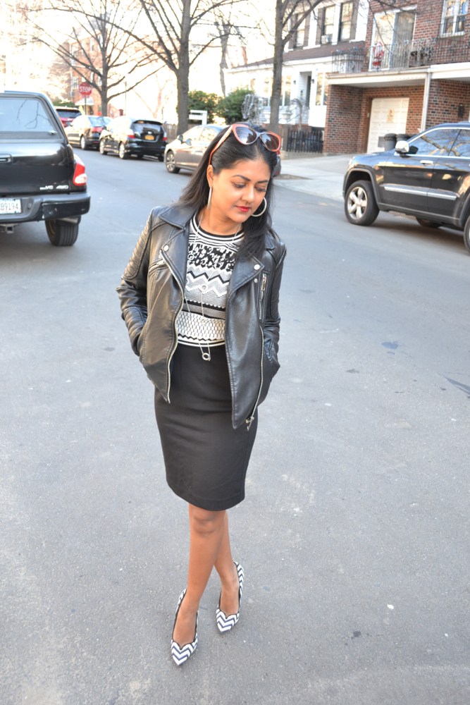 black office skirt leather jacket zara