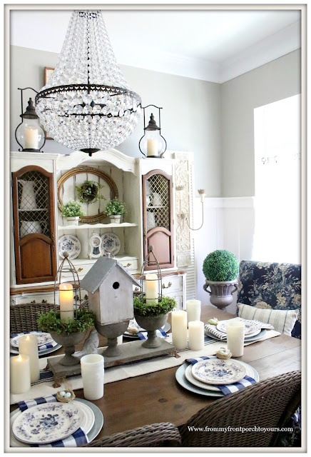 French Country Farmhouse-Dining Room-Crystal Chandelier-Pottery Barn Mia Chandelier-Buffalo Check-Blue and White-Milk Glass-From My Front Porch To Yours