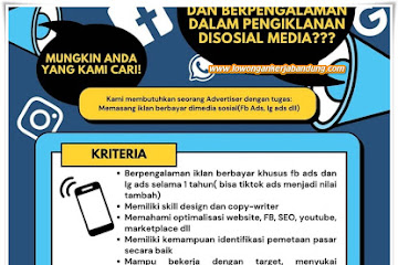 Lowongan Kerja Bandung Advertiser Sosial Media