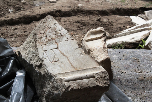 Fragment of statue base with Greek inscription from 2nd century found in Bulgaria's Plovdiv